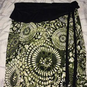 Susan Lawrence Midi Green Patterned Skirt